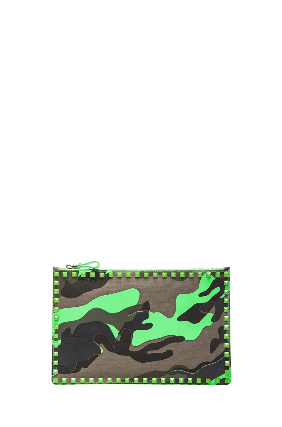 Image 1 of Valentino Rockstud Camouflage Flat Pouch in Fluo Green