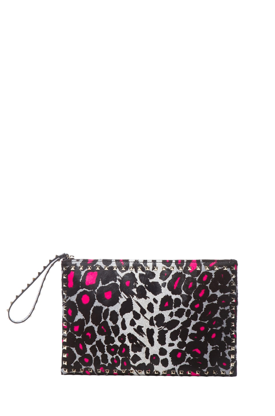 Image 1 of Valentino Small Cheetah Rockstud Clutch in Fluo Pink