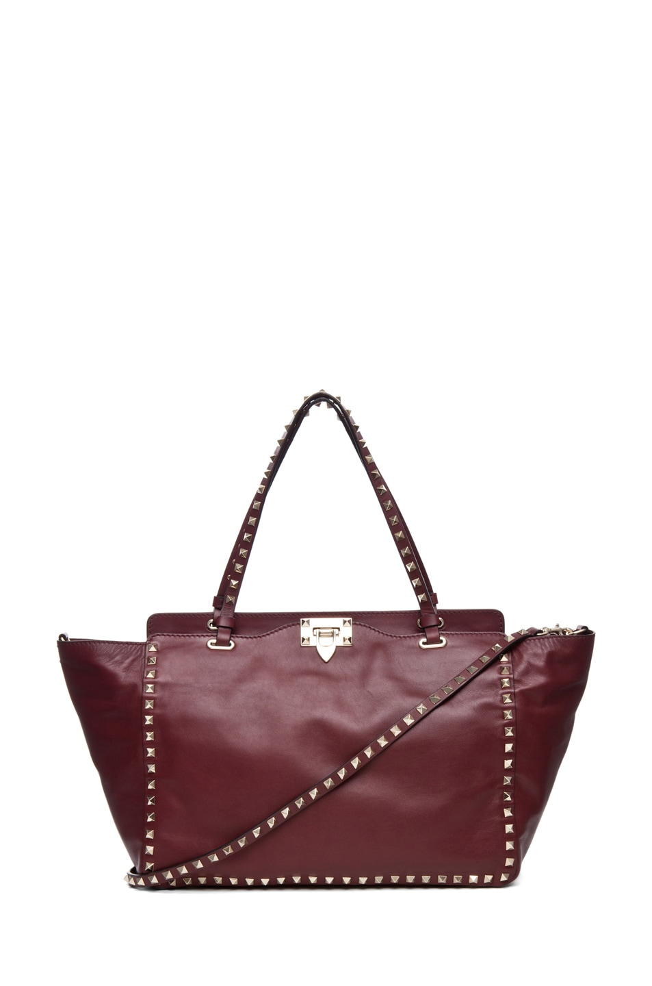 Image 1 of Valentino Rockstud Small Tote in Prun
