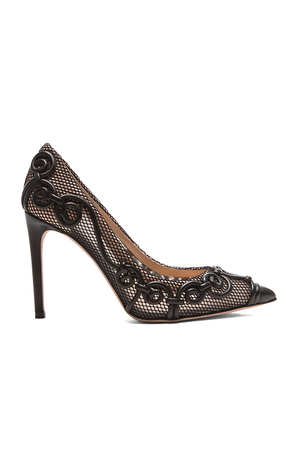 Image 1 of Valentino Garavani Intrigate Mesh Heels in Black