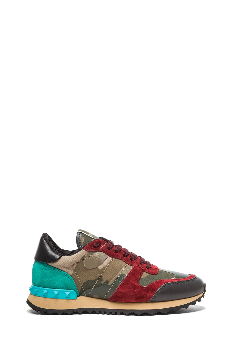 Image 1 of Valentino Rockstud Camouflage Canvas & Suede Trainers in Rouge & Colibri