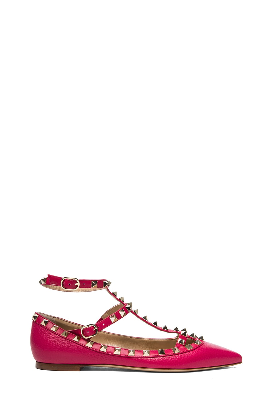 Image 1 of Valentino Rockstud Leather Cage Flats in Cyclamin