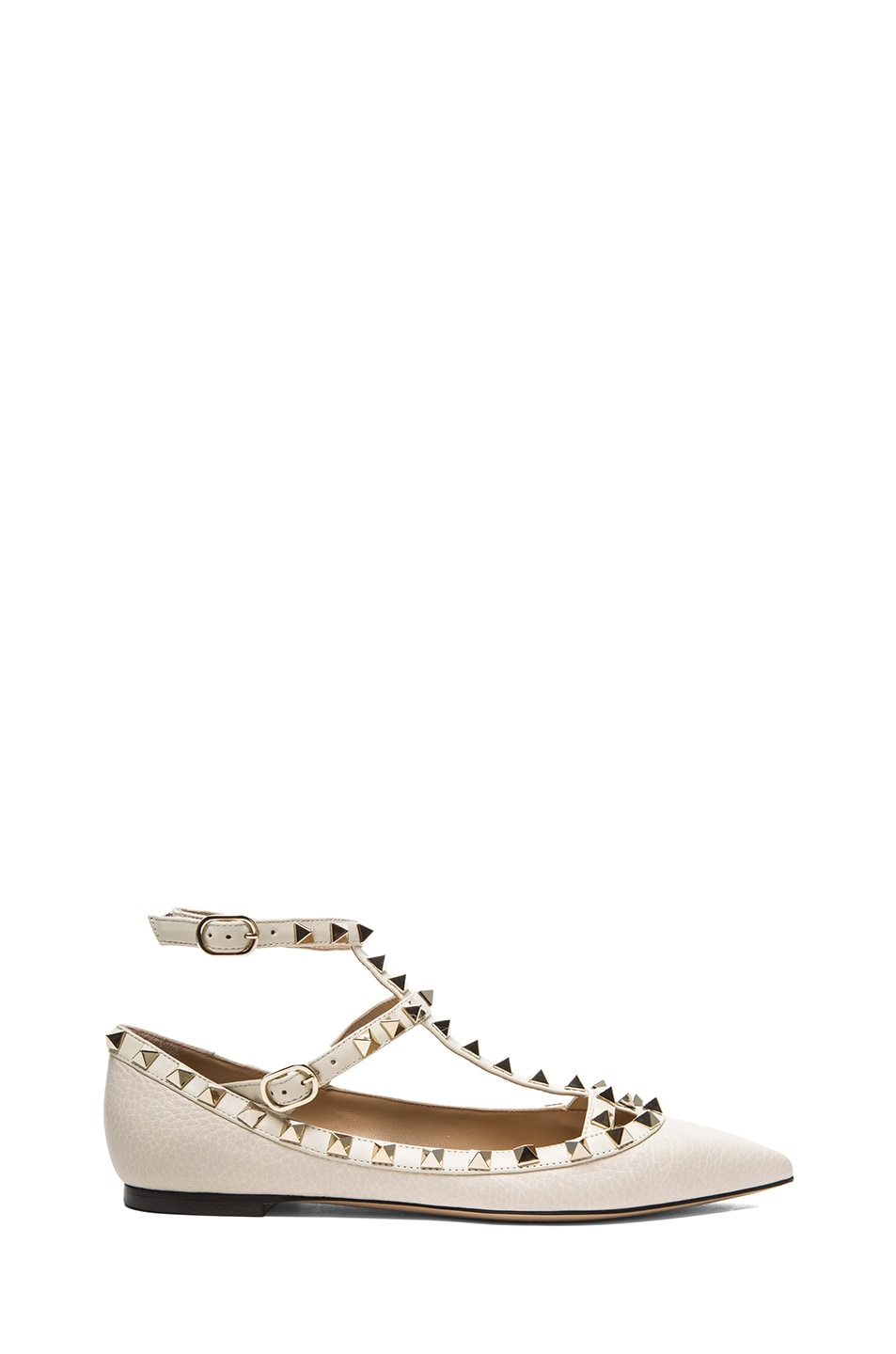Image 1 of Valentino Rockstud Leather Cage Flats in Light Ivory