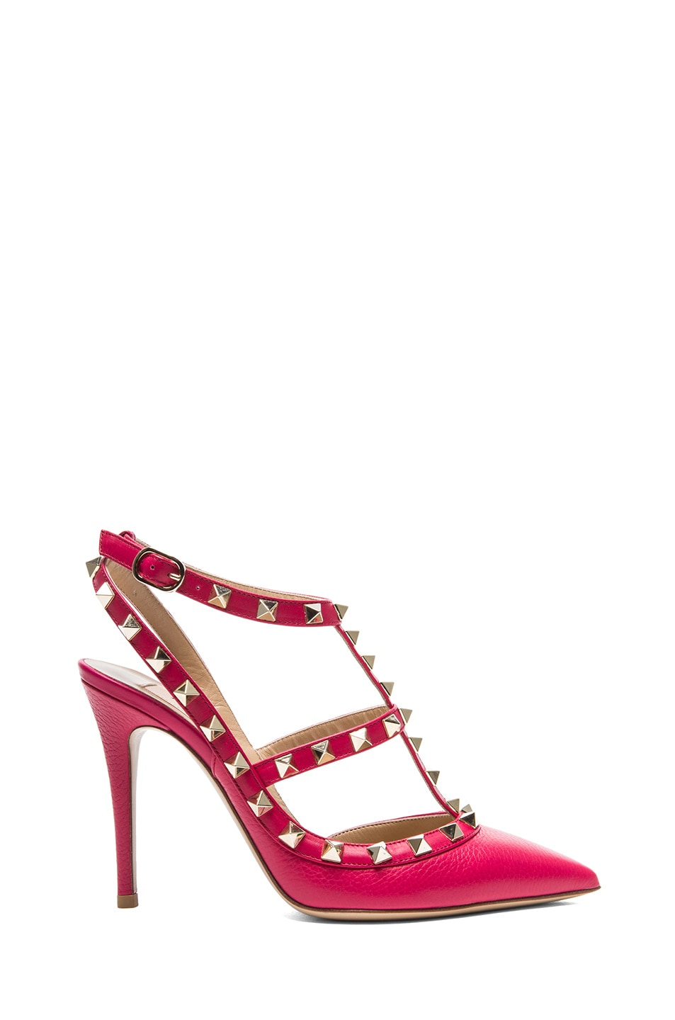 Image 1 of Valentino Rockstud Leather Slingbacks T.100 in Cyclamin