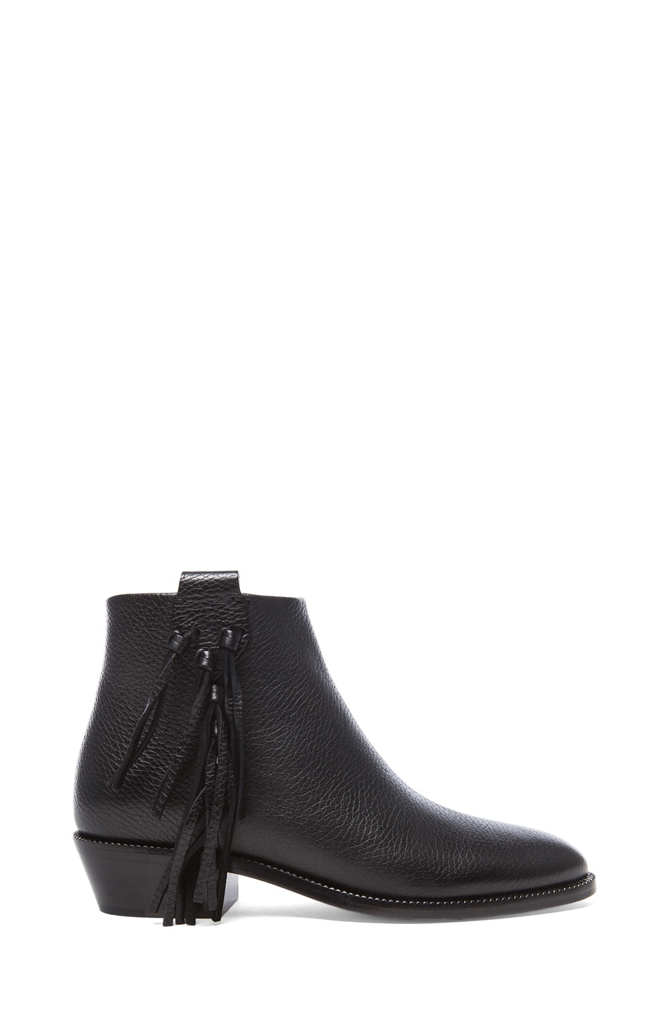 Image 1 of Valentino Fringe Grained Leather Ankle Boots in Black