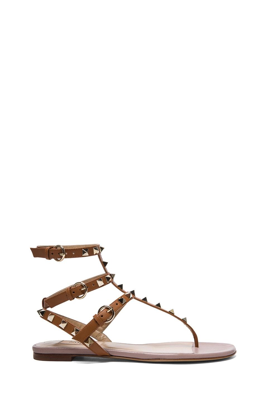 Image 1 of Valentino Garavani Rockstud Gladiator Leather Sandals T.05 in Light Cuir