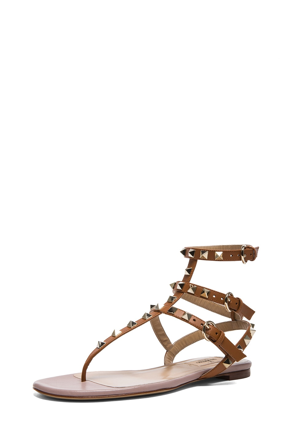 Image 2 of Valentino Rockstud Gladiator Leather Sandals T.05 in Light Cuir
