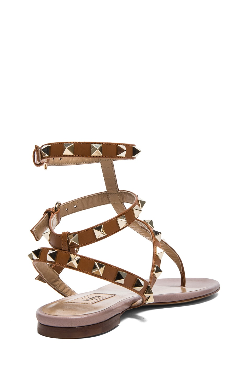 Image 3 of Valentino Rockstud Gladiator Leather Sandals T.05 in Light Cuir