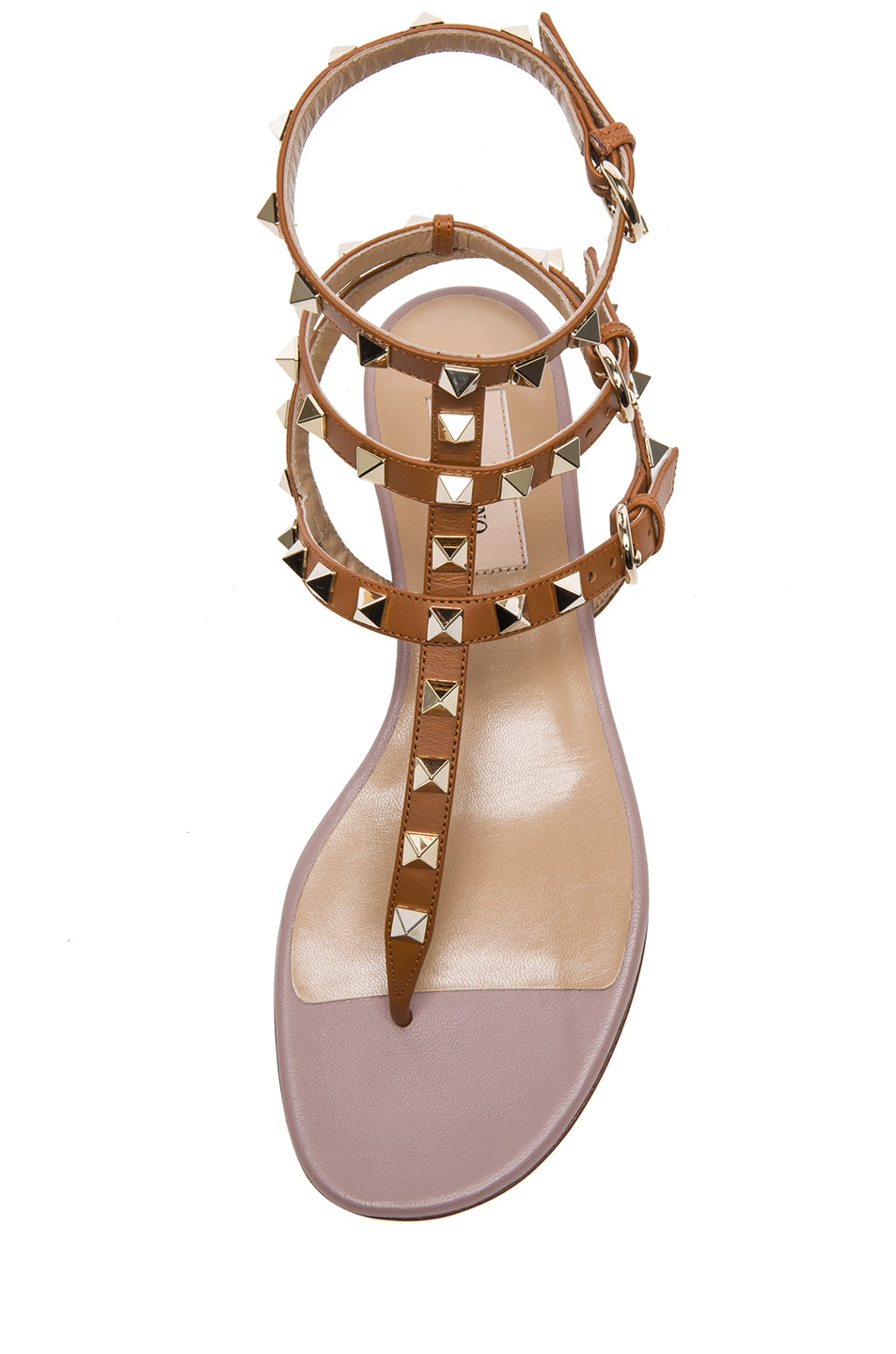 Image 4 of Valentino Rockstud Gladiator Leather Sandals T.05 in Light Cuir