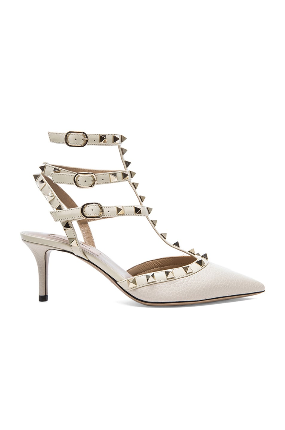 Image 1 of Valentino Rockstud Leather Slingbacks T.65 in Light Ivory