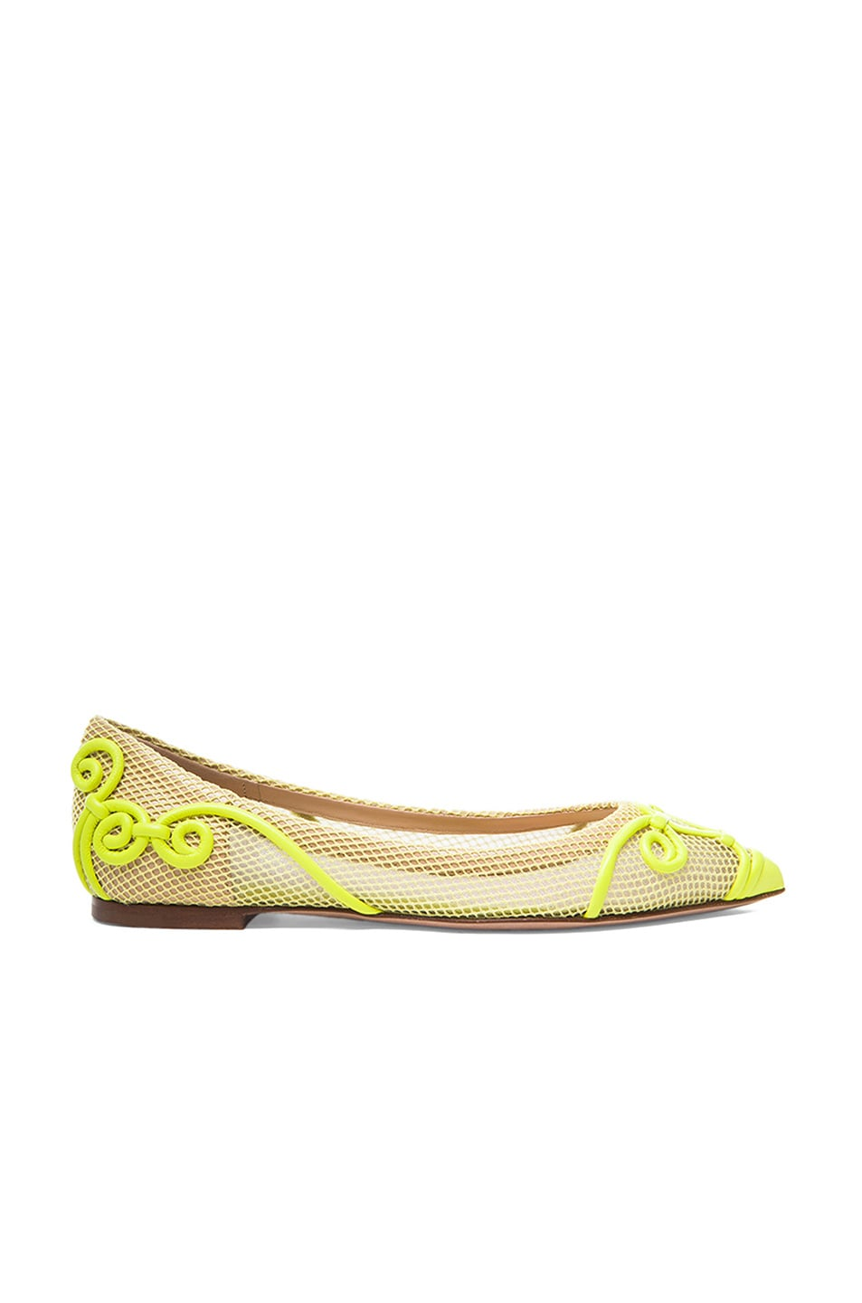 Image 1 of Valentino Intrigate Mesh Flats in Fluorescent Yellow