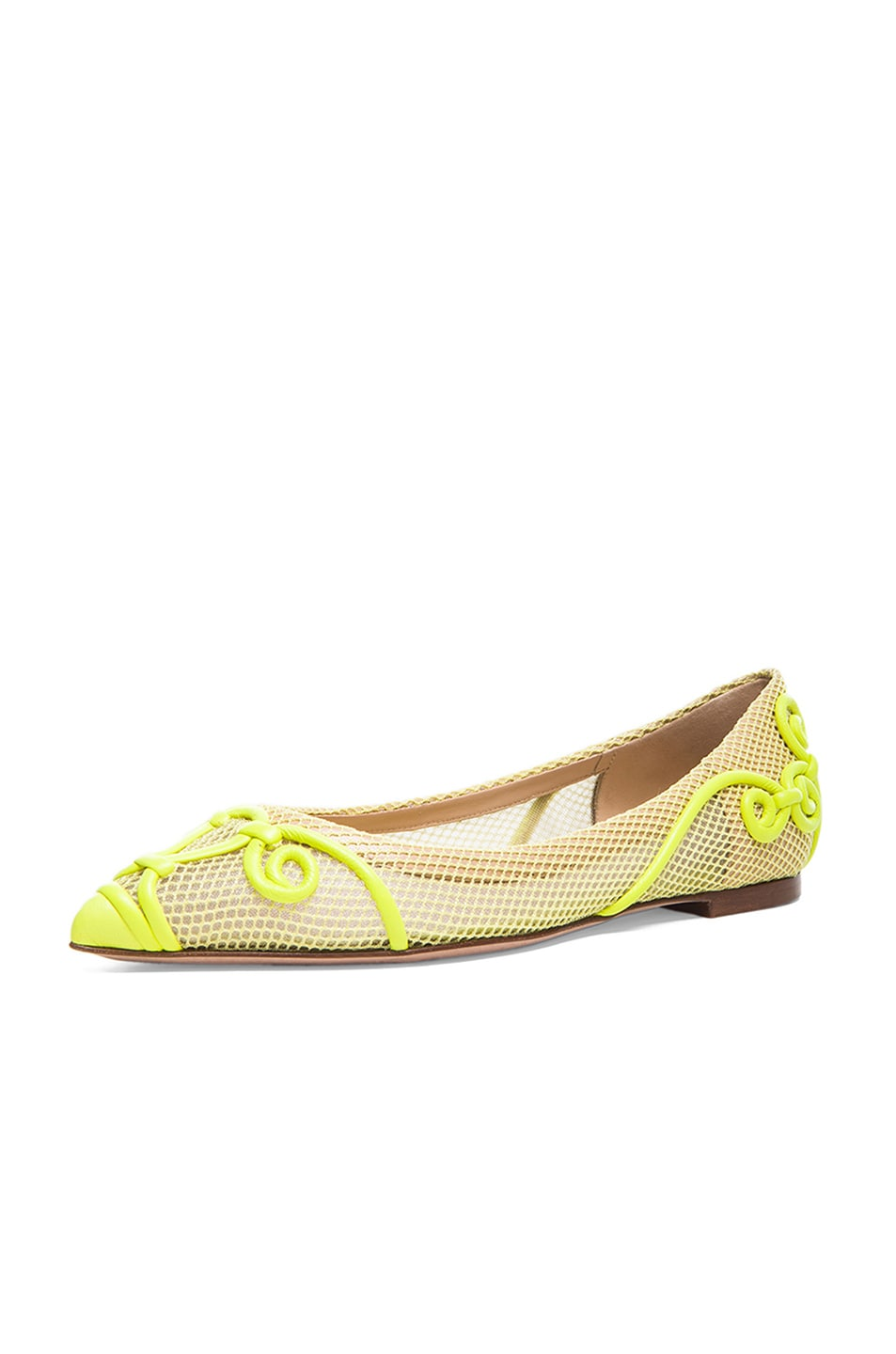 Image 2 of Valentino Intrigate Mesh Flats in Fluorescent Yellow