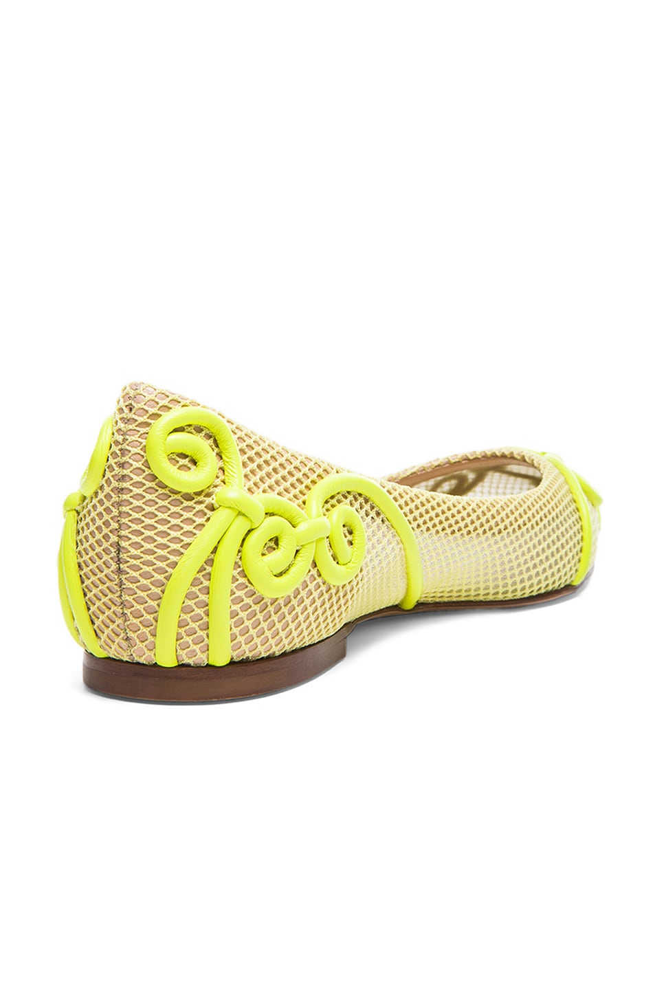 Image 3 of Valentino Intrigate Mesh Flats in Fluorescent Yellow