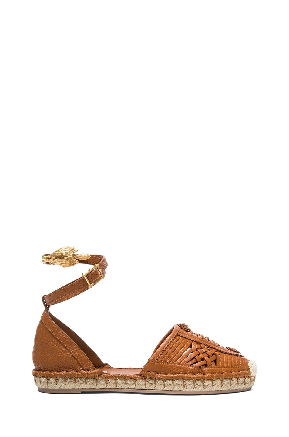 Image 1 of Valentino Ethno Grained Leather Bondage Espadrilles in Light Cuir
