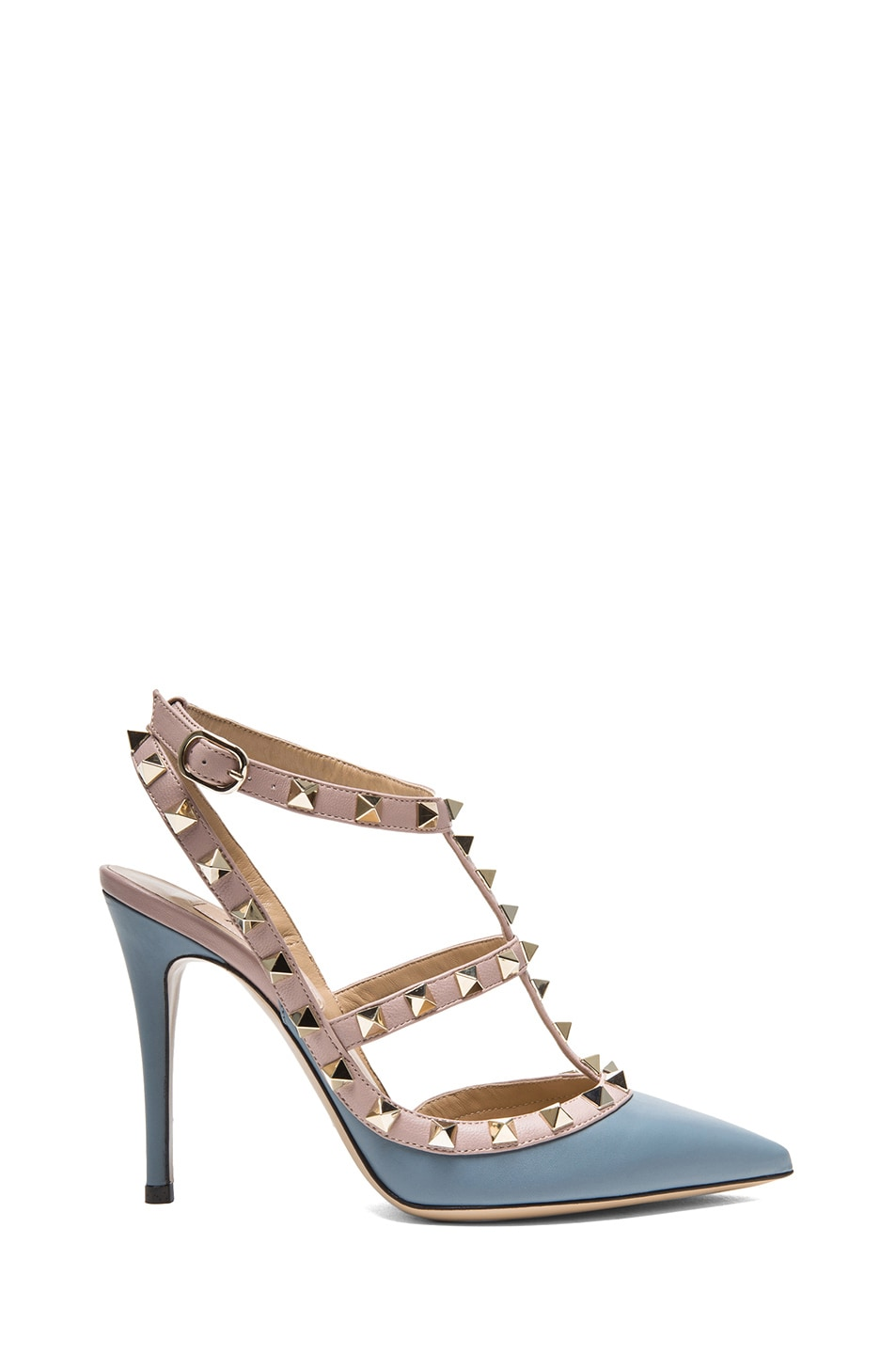 Image 1 of Valentino Rockstud Leather Slingbacks T.100 in Grey