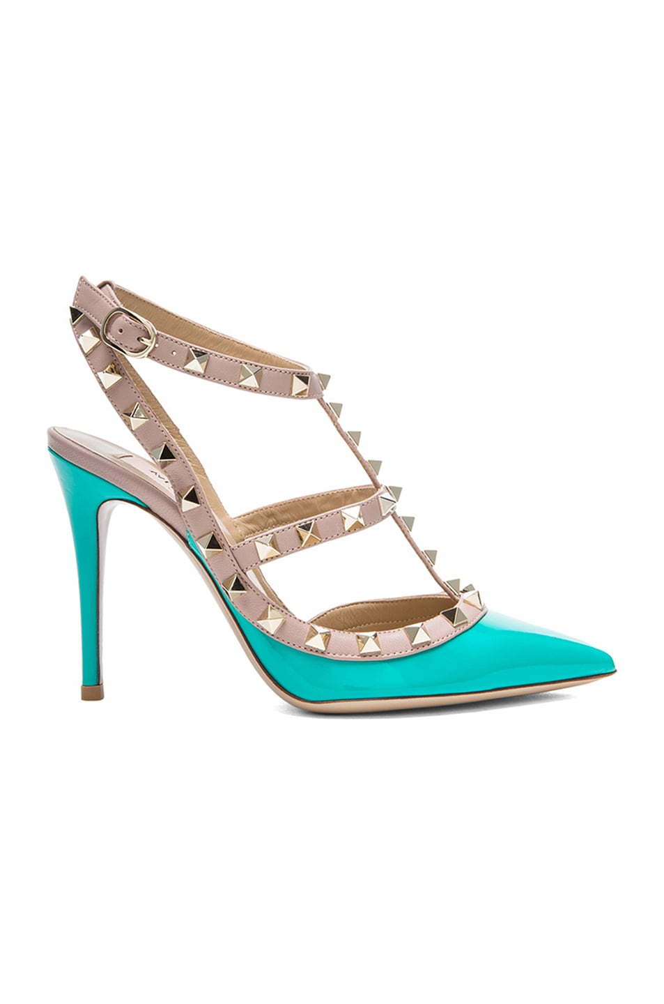Image 1 of Valentino Rockstud Patent Leather Slingbacks T.100 in Oppoline Green
