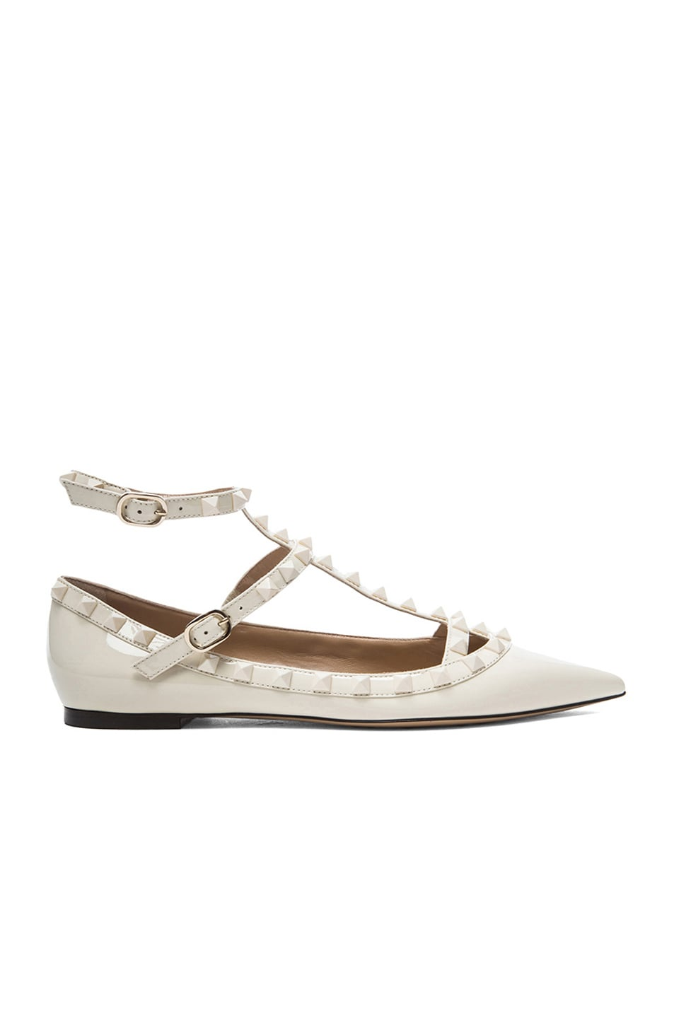 Image 1 of Valentino Rockstud Punkouture Patent Cage Flats in Light Ivory