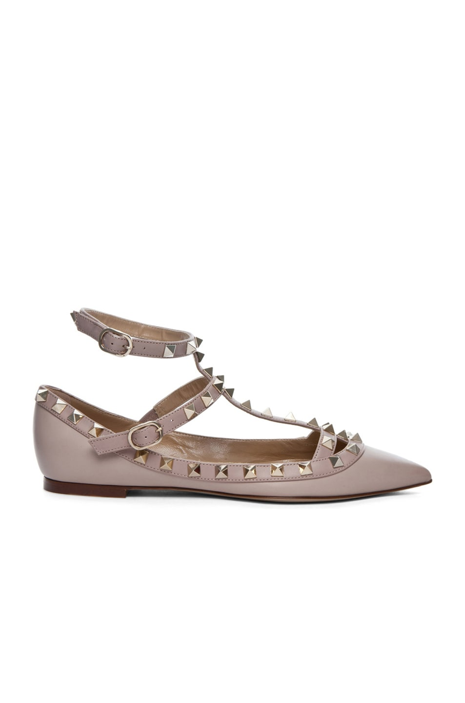 Image 1 of Valentino Rockstud Leather Cage Flats in Powder