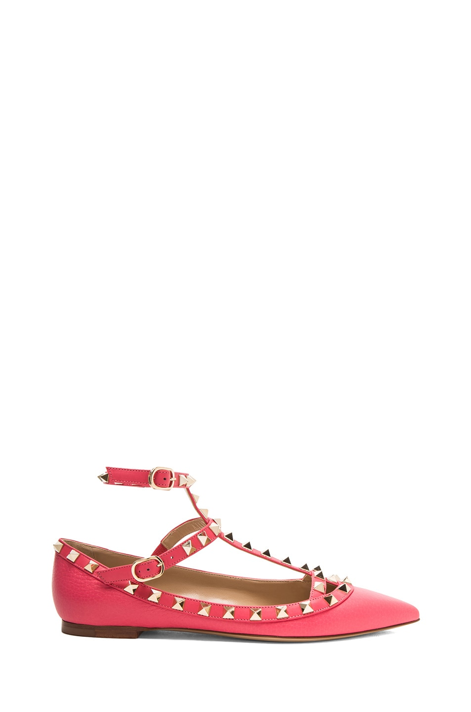 Image 1 of Valentino Rockstud Leather Cage Flats in Deep Rose