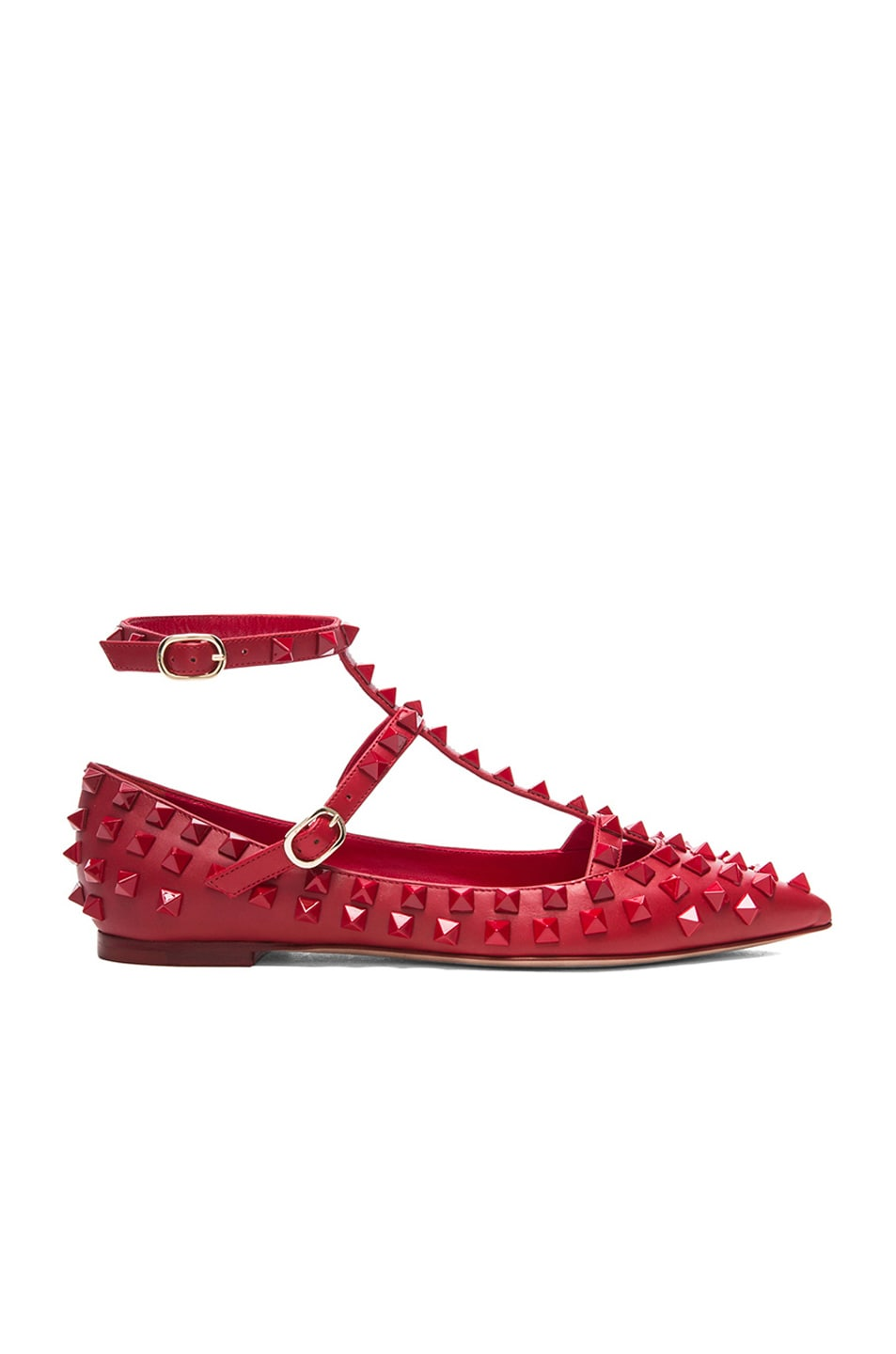 Image 1 of Valentino Rockstud All Over Leather Cage Flats in Rouge