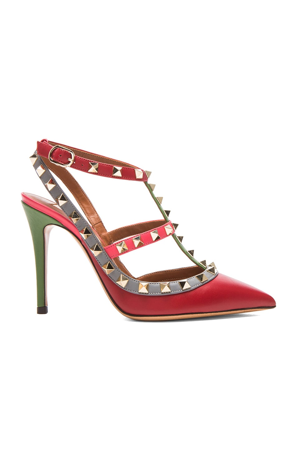 Image 1 of Valentino Rockstud Italian Pop Leather Slingbacks T.100 in Red Multi
