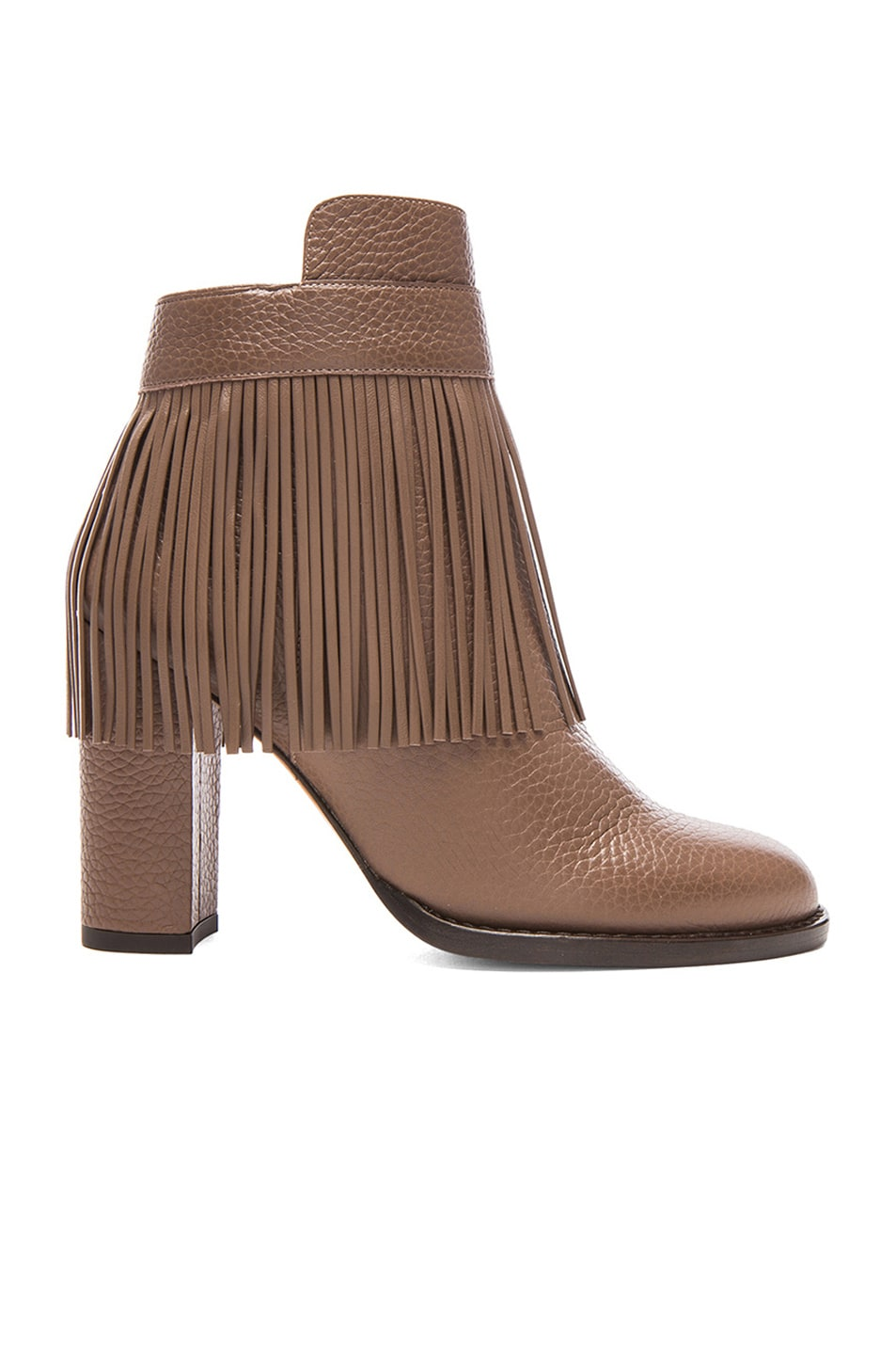 Image 1 of Valentino Rockee Fringe Ankle Leather Booties in Dark Noisette