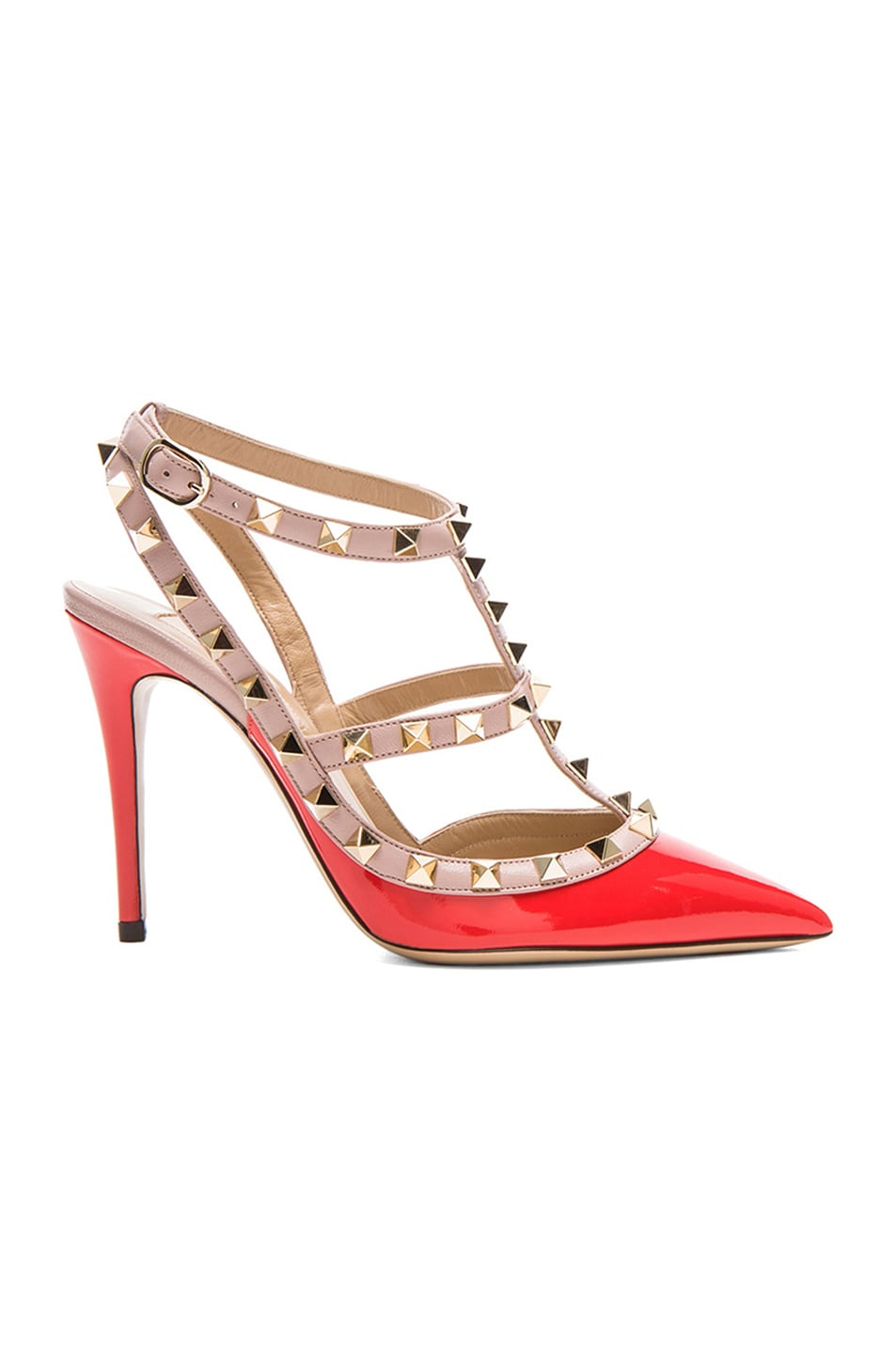 Image 1 of Valentino Rockstud Patent Slingbacks T.100 in Orange