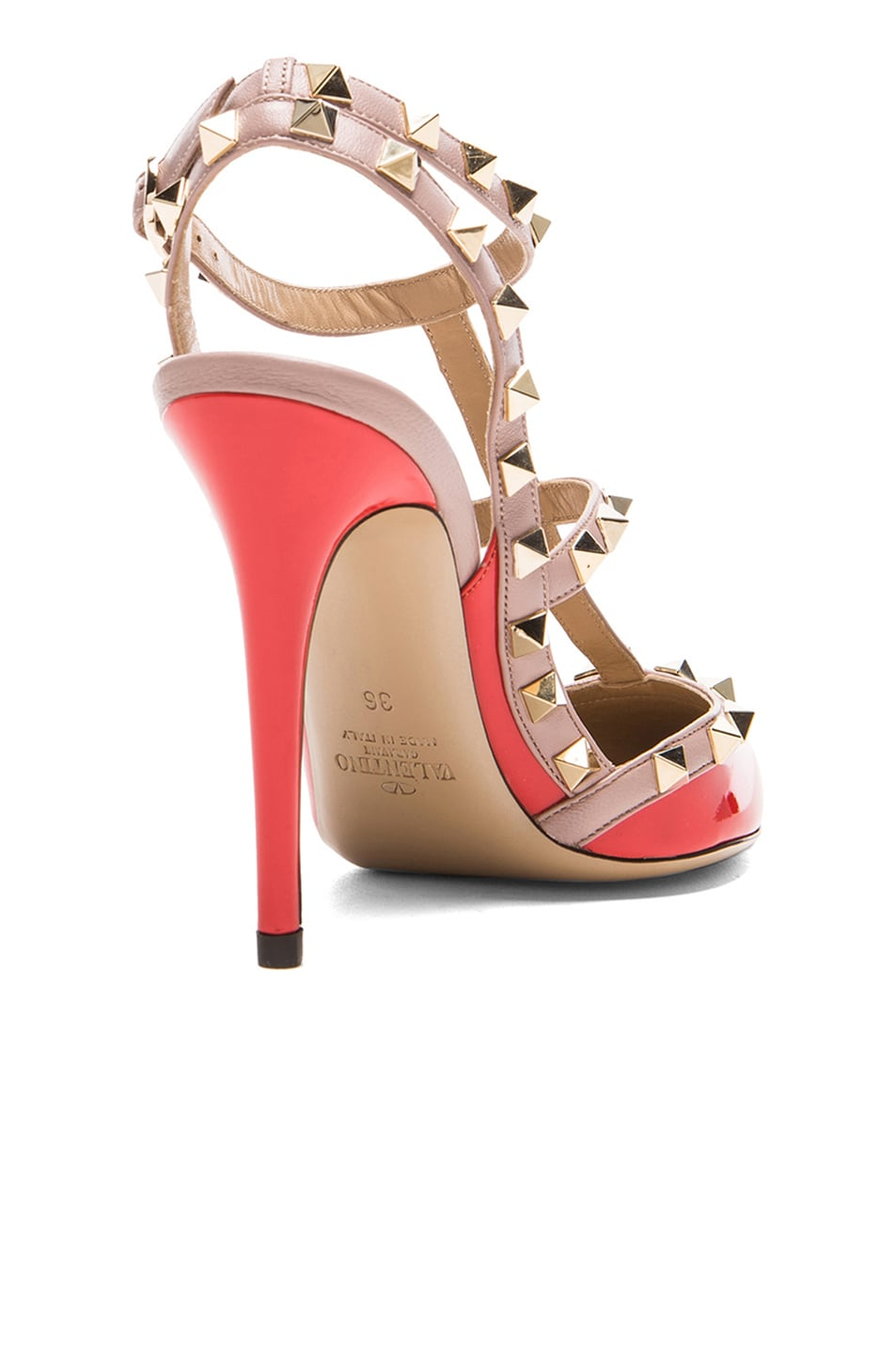 Image 3 of Valentino Rockstud Patent Slingbacks T.100 in Orange