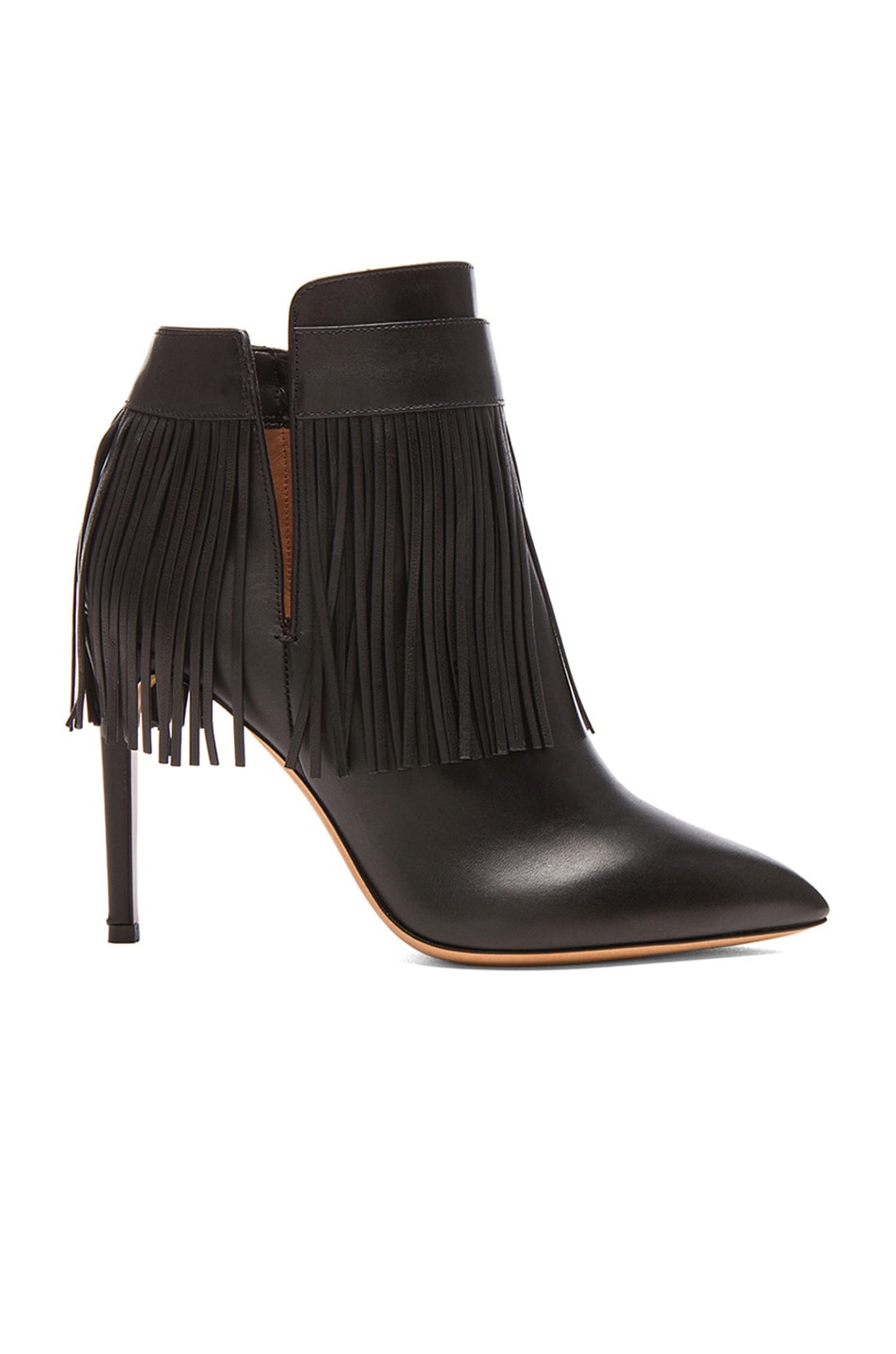Image 1 of Valentino Rockee Fringe Leather Ankle Boots in Black