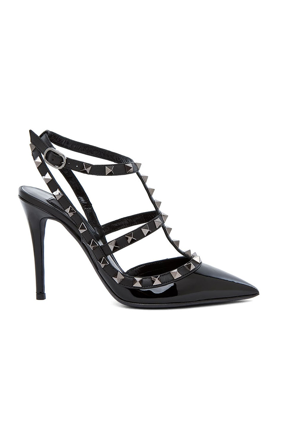 Image 1 of Valentino Rockstud Patent Slingbacks T.100 in Black