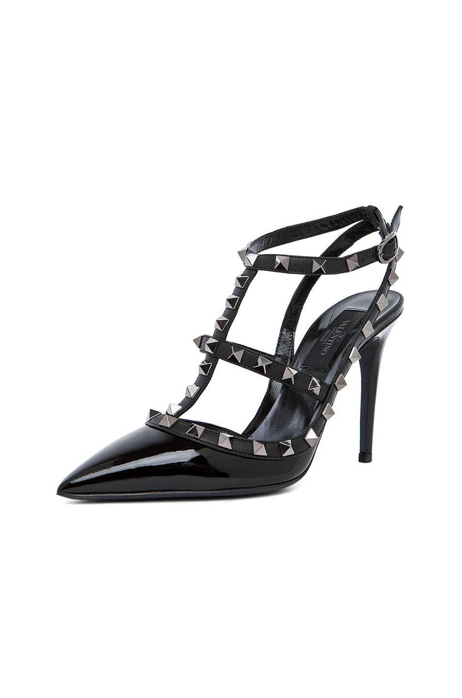 Image 2 of Valentino Rockstud Patent Slingbacks T.100 in Black