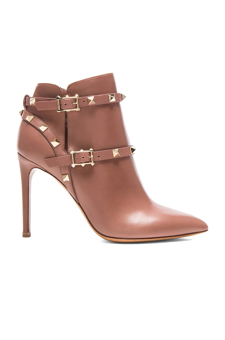 Image 1 of Valentino Rockstud Leather Booties T.100 in Brownish Orange