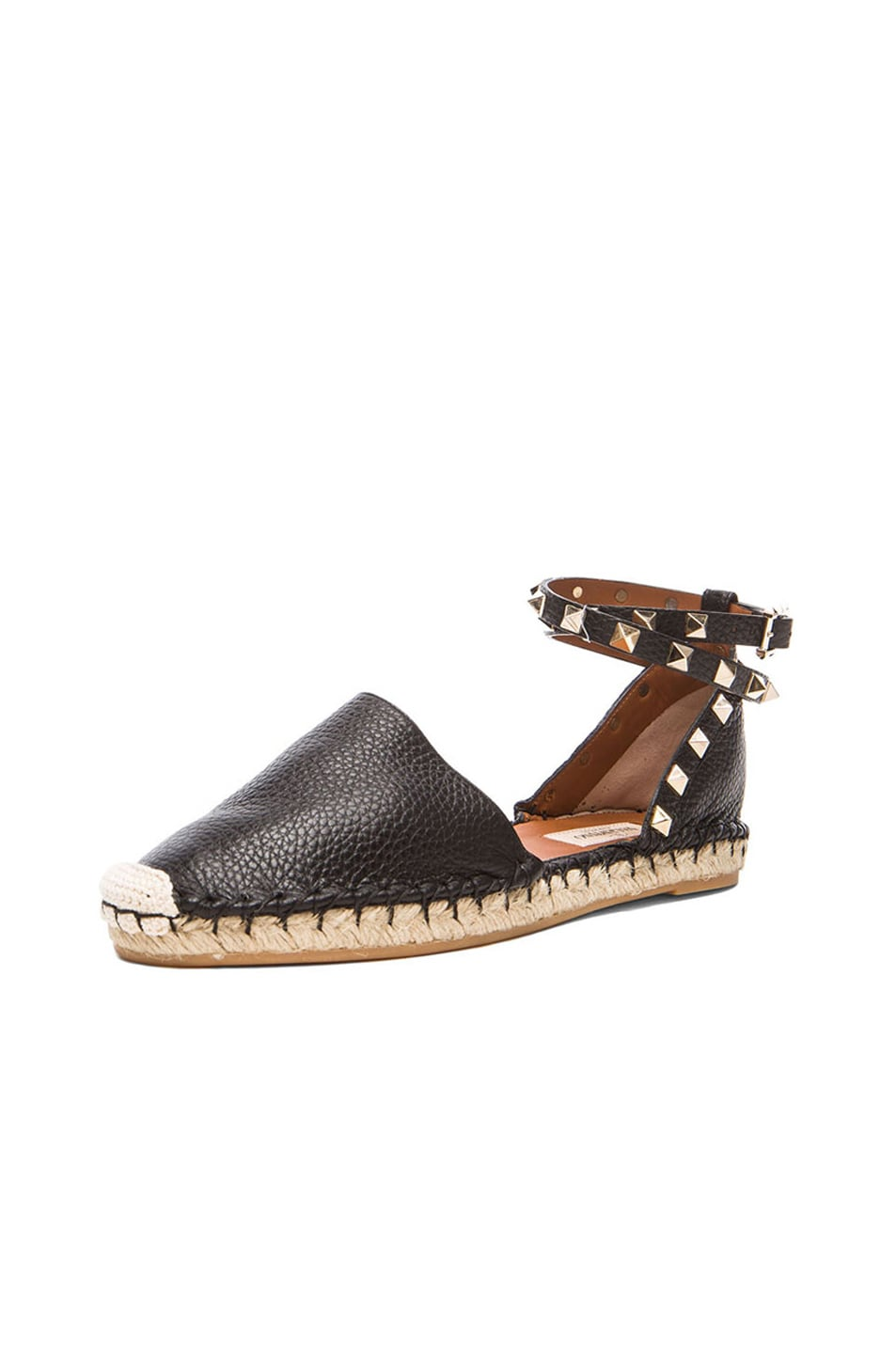 Image 2 of Valentino Rockstud Double Flat Leather Espadrilles in Black