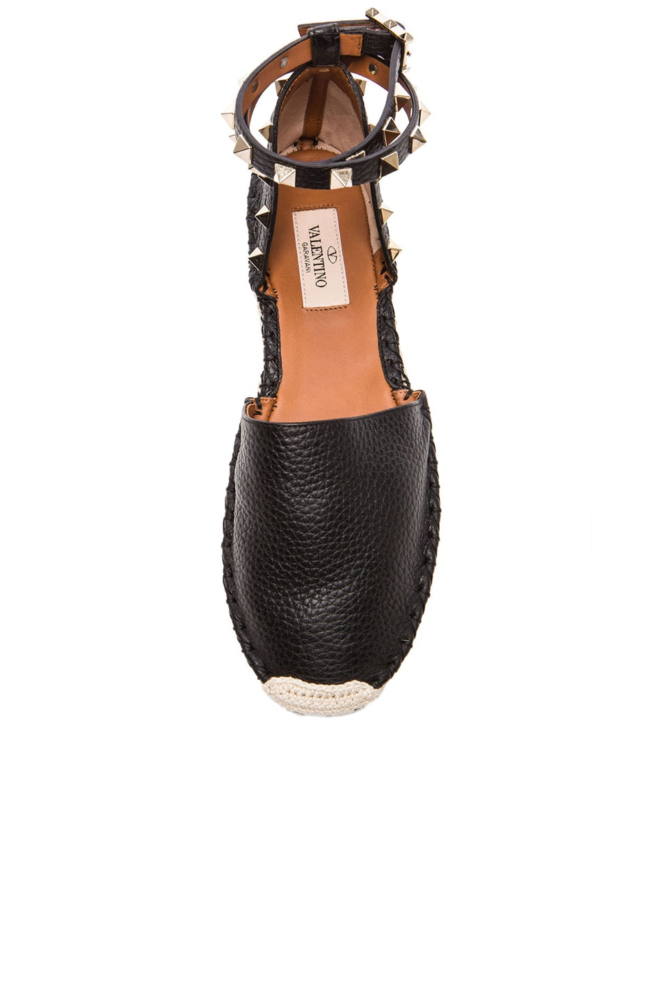 Image 4 of Valentino Rockstud Double Flat Leather Espadrilles in Black