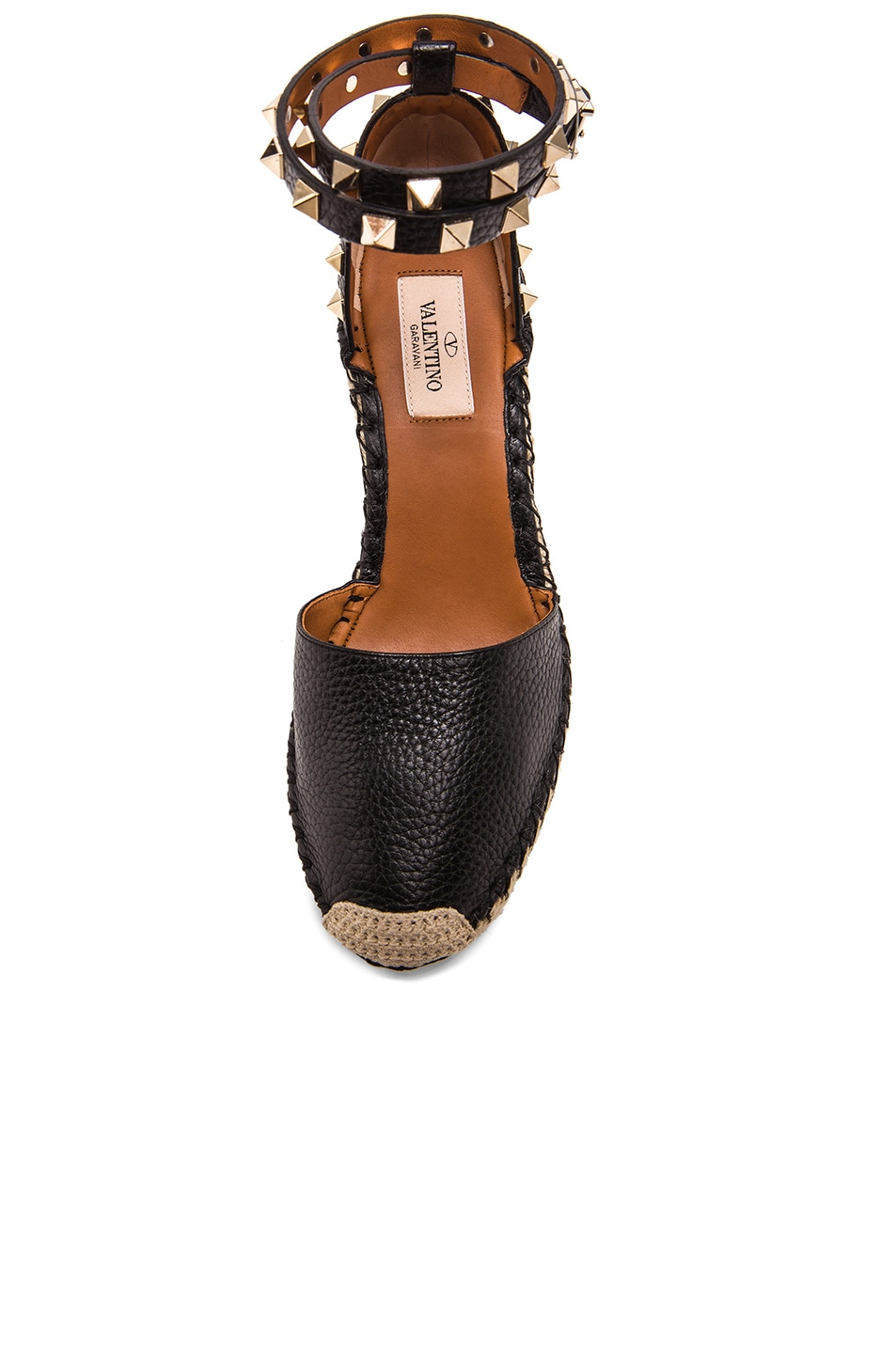 de51833032f Image 4 of Valentino Rockstud Double Espadrille Leather Wedges in Black