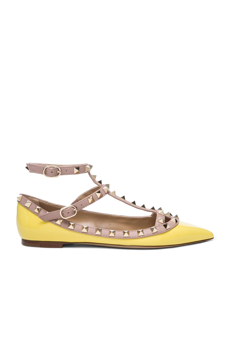 Image 1 of Valentino Rockstud Patent Cage Flats in Yellow
