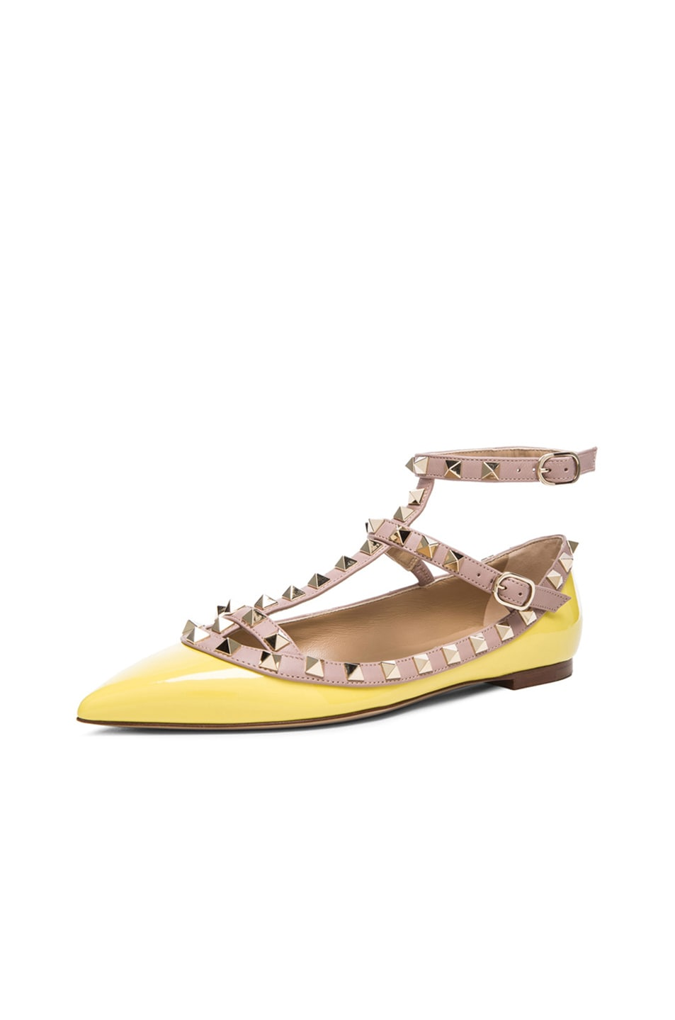 Image 2 of Valentino Rockstud Patent Cage Flats in Yellow