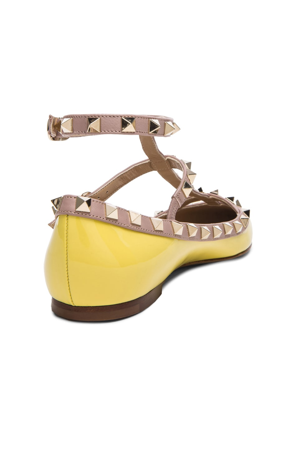 Image 3 of Valentino Rockstud Patent Cage Flats in Yellow