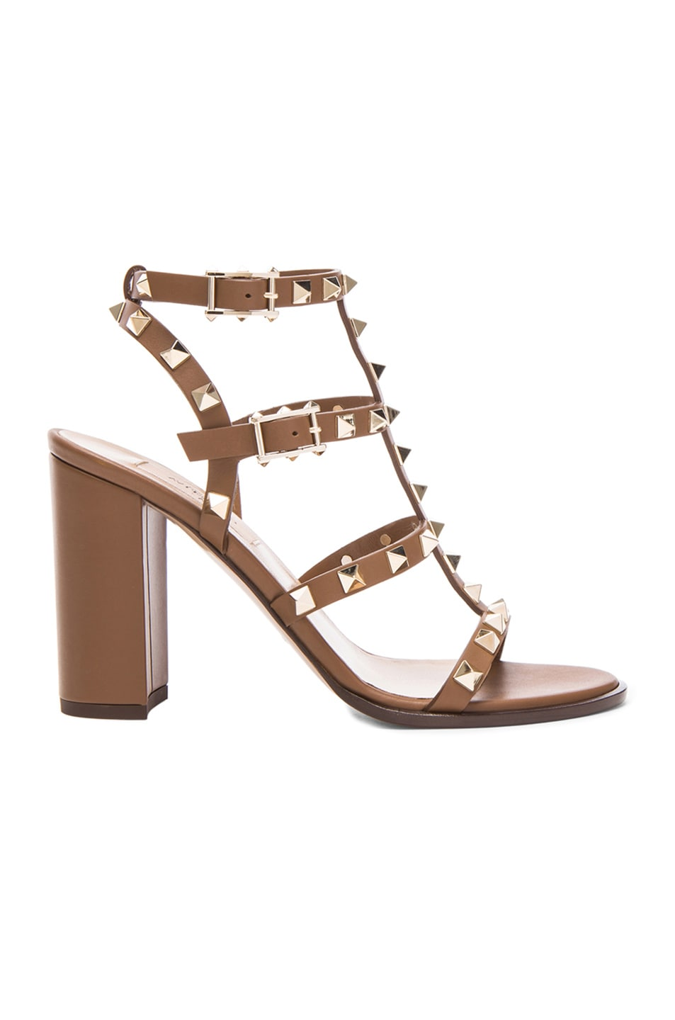 Image 1 of Valentino Rockstud Chunky Leather Heels T.90 in Deep Cuir