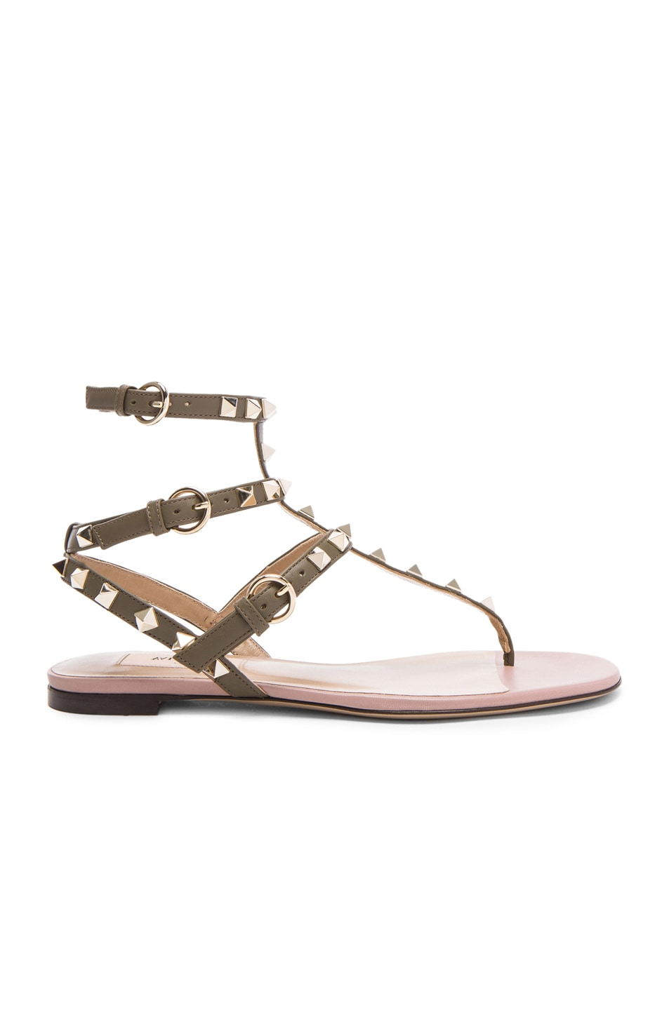 Army Valentino 05 In Rockstud Gladiator Sandals Green Leather T kZuPXiO