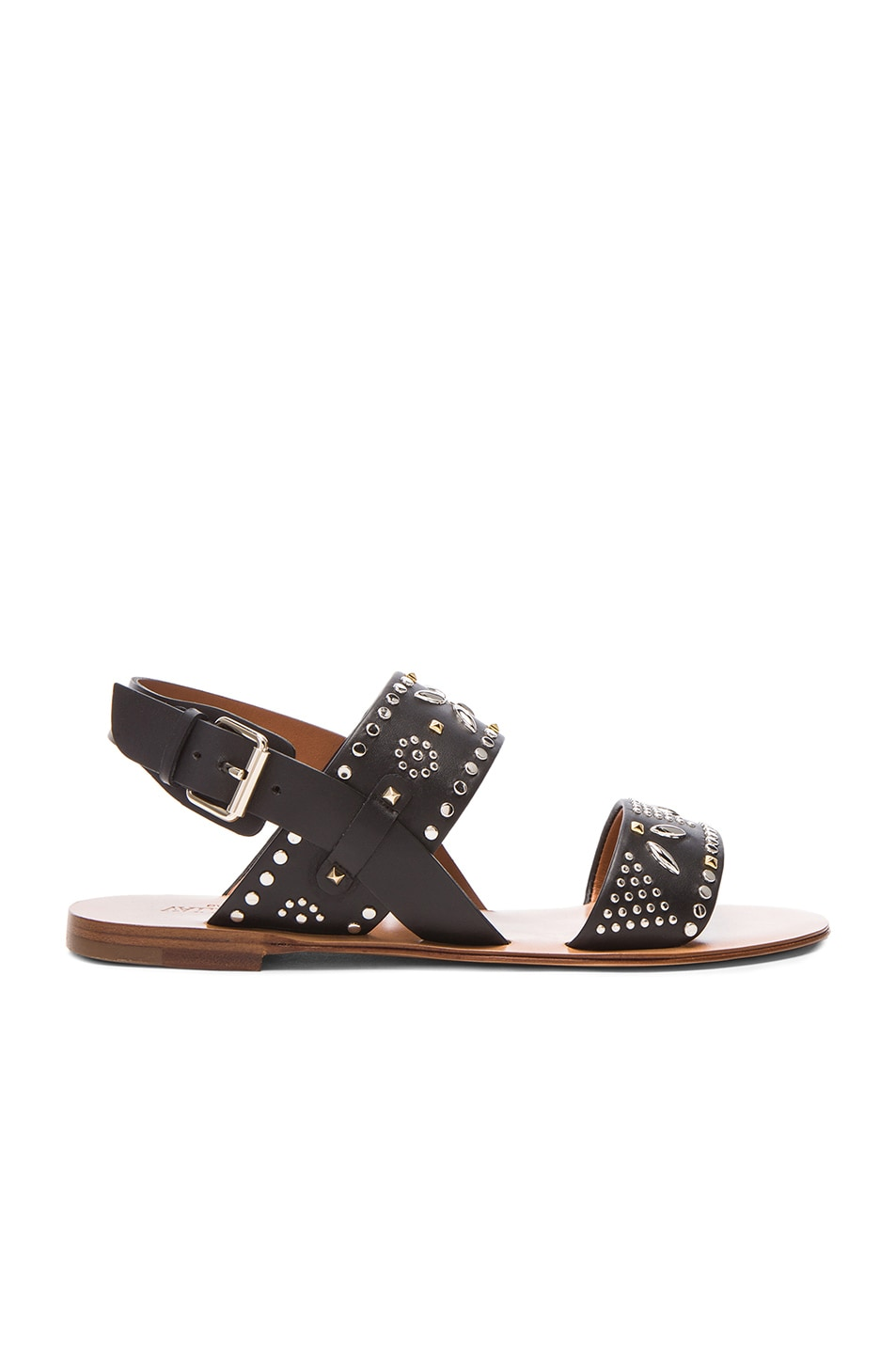 Image 1 of Valentino Teodora Leather Sandals in Black