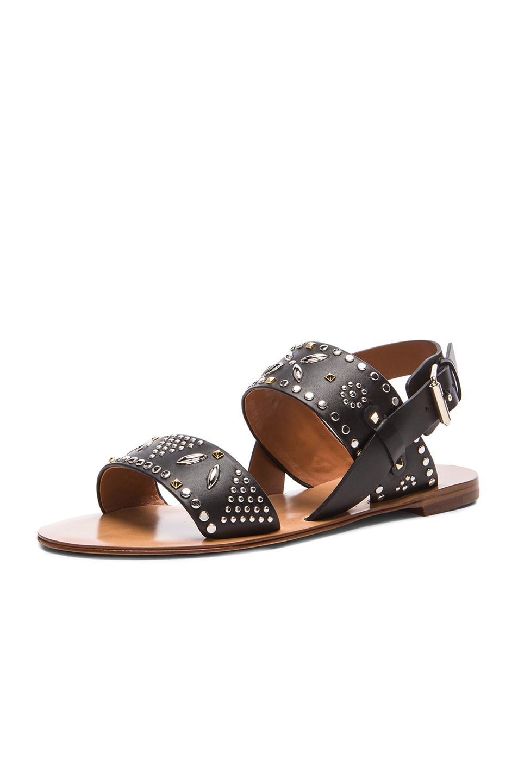 Image 2 of Valentino Teodora Leather Sandals in Black