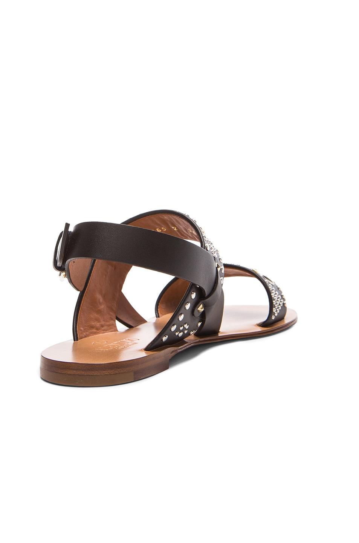 Image 3 of Valentino Teodora Leather Sandals in Black