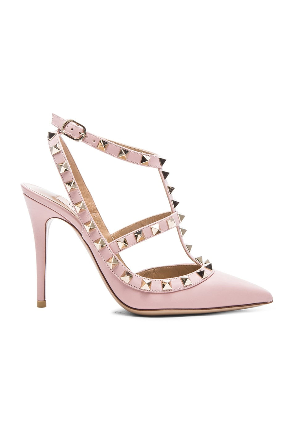 d01ed3175b2a97 Image 1 of Valentino Rockstud Leather Slingbacks T.100 in Water Rose