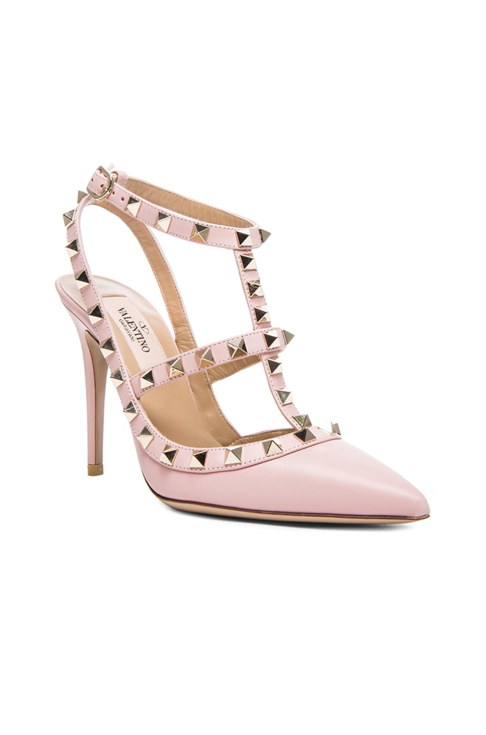 Image 2 of Valentino Rockstud Leather Slingbacks T.100 in Water Rose