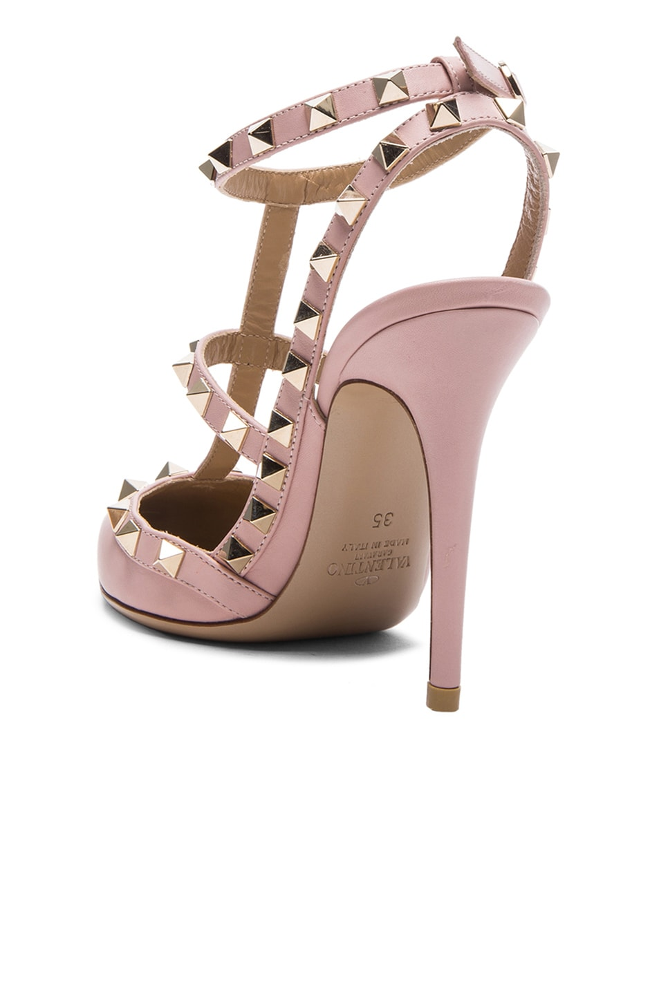 Image 3 of Valentino Rockstud Leather Slingbacks T.100 in Water Rose