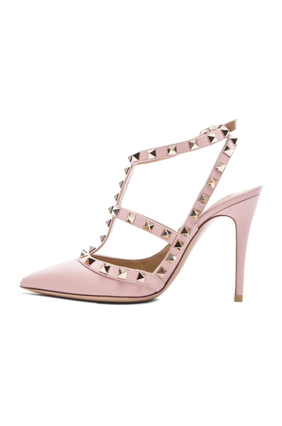 Image 5 of Valentino Rockstud Leather Slingbacks T.100 in Water Rose