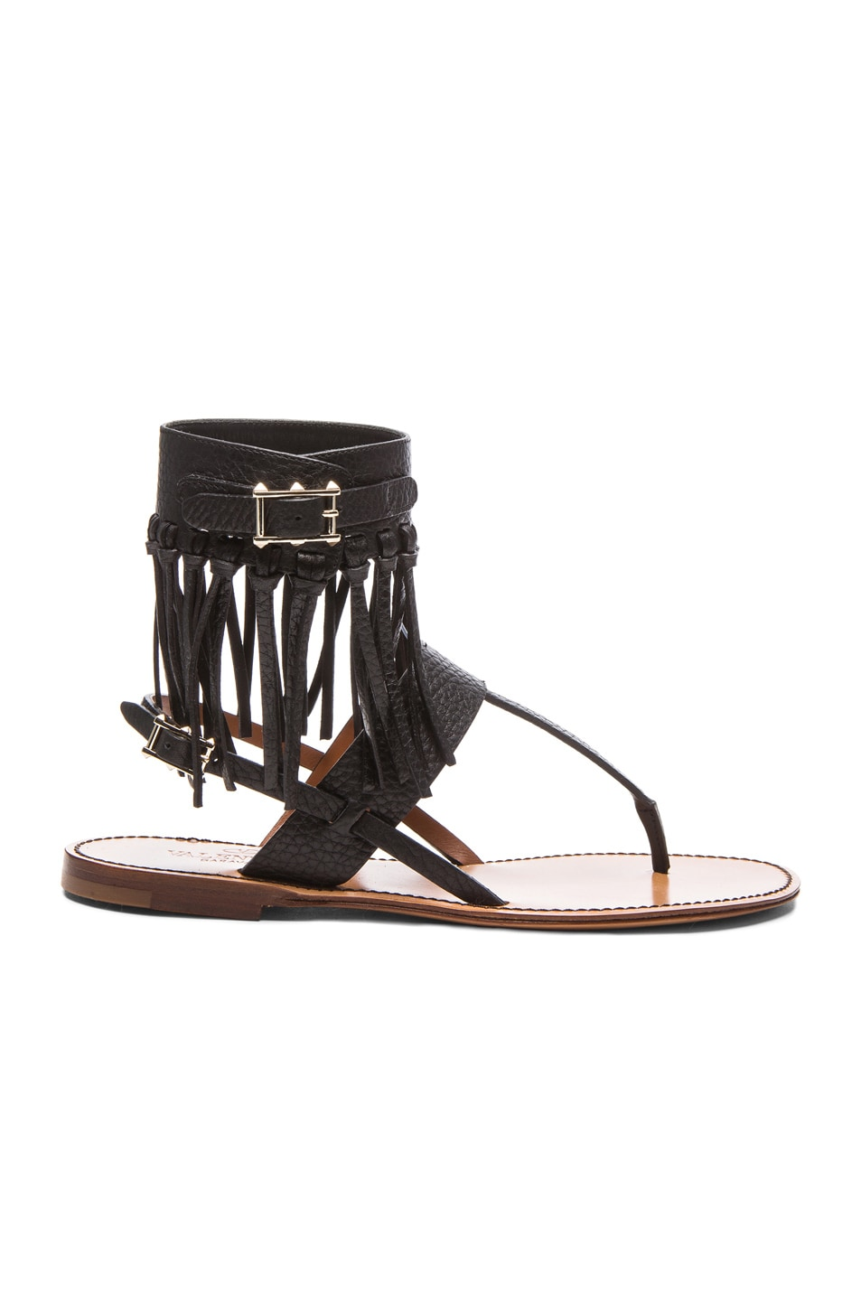 Image 1 of Valentino Fringe Thong Leather Sandals in Black