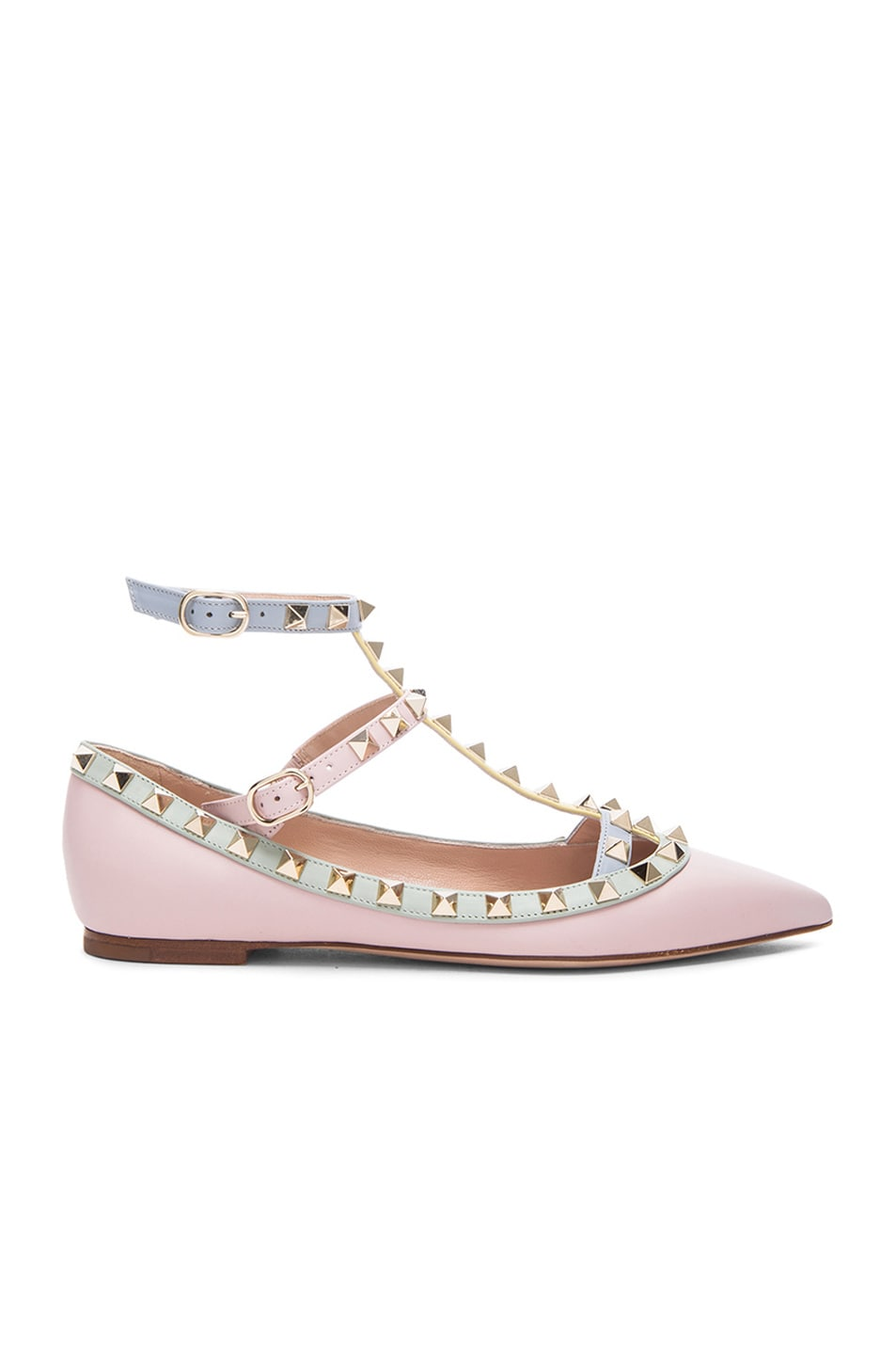 Image 1 of Valentino Rockstud Leather Cage Flats in Watercolor