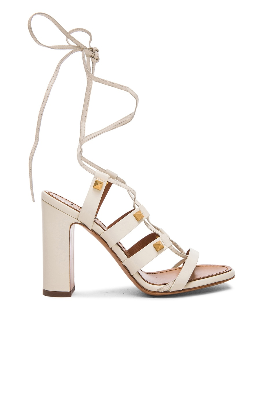 Image 1 of Valentino Rockstud Leather Gladiator Heels T.100 in Light Ivory